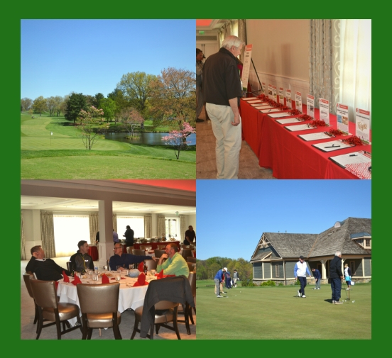 Landscape photo of course, auction table, guests at banquet table, and players on the course.