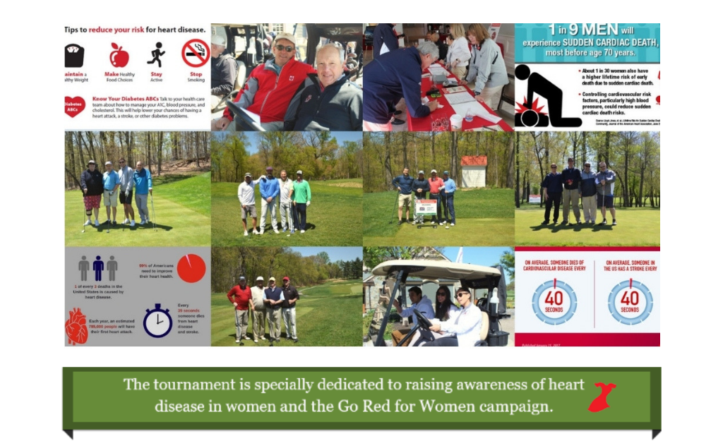Collage of photos from the 2018 Golf Tournament and infographics.